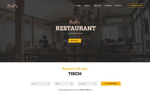 Screendesign der Webseite von Rudi's Restaurant