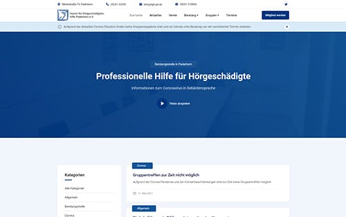Webseite für den Verein für Hörgeschädigtenhilfe e.V.